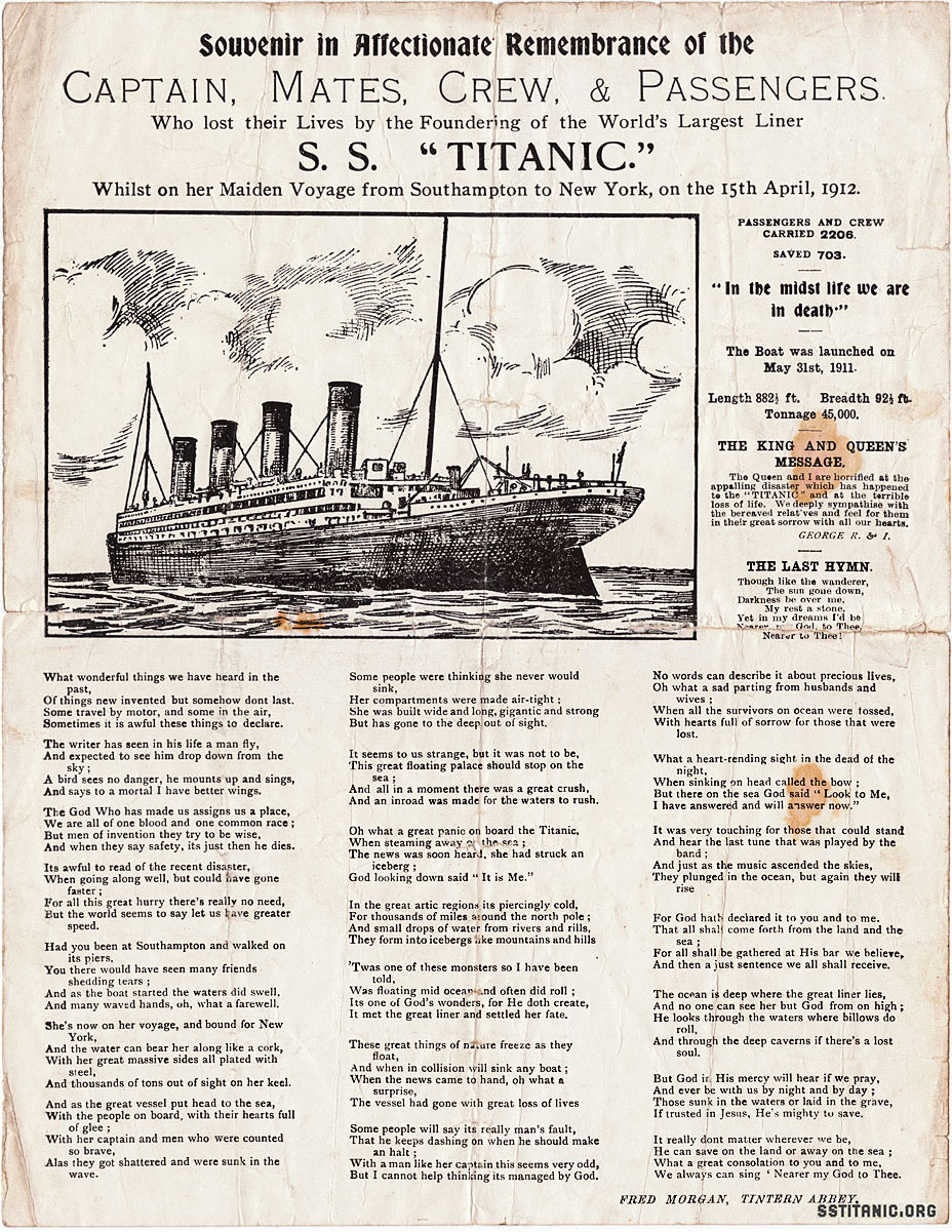 affectionate remembrance souvenir sheet poetry music titanic 1912
