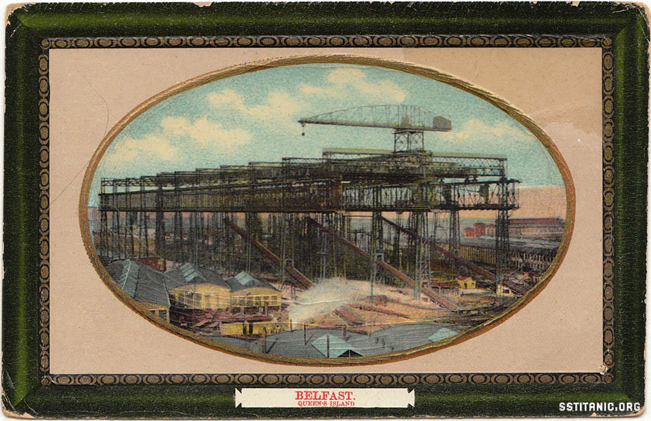 arrol great gantry milton sellwell postcard harland wolff titanic 1912
