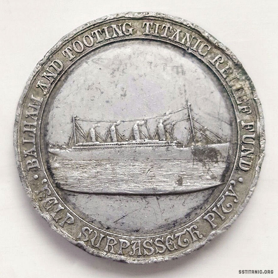 balham tooting relief fund aluminium medal medallion heaver estate titanic 1912