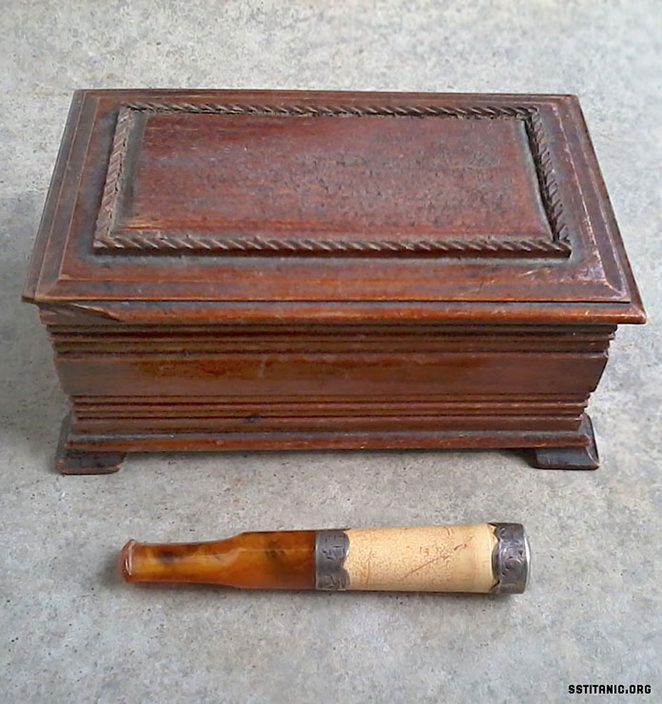captain edward john smith cigar box and holder titanic 1912