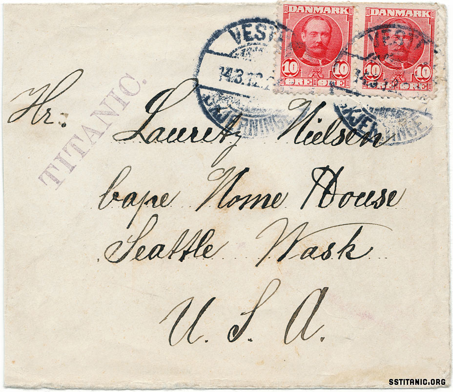 denmark cover danish envelope mail m a winter company handstamp march titanic 1912