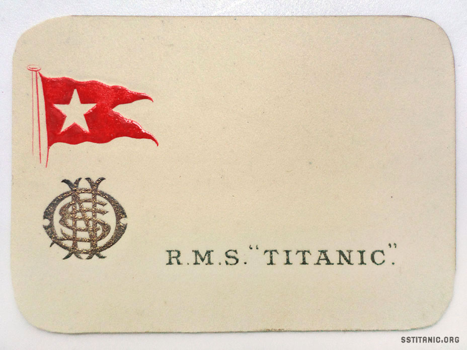first class menu card piece stationery titanic 1912