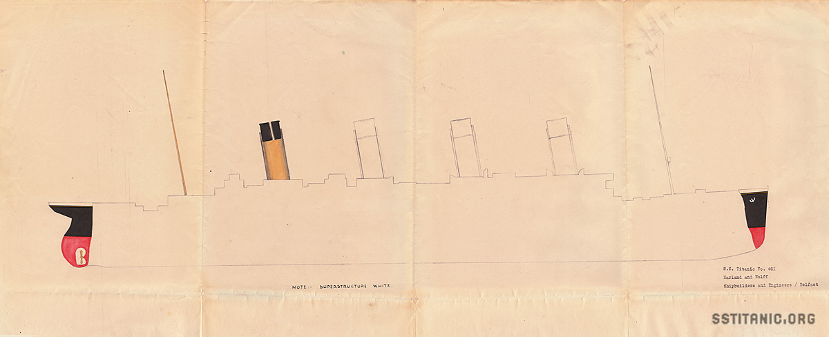 original longitudinal color design drawings plans cross section blueprint titanic 1912