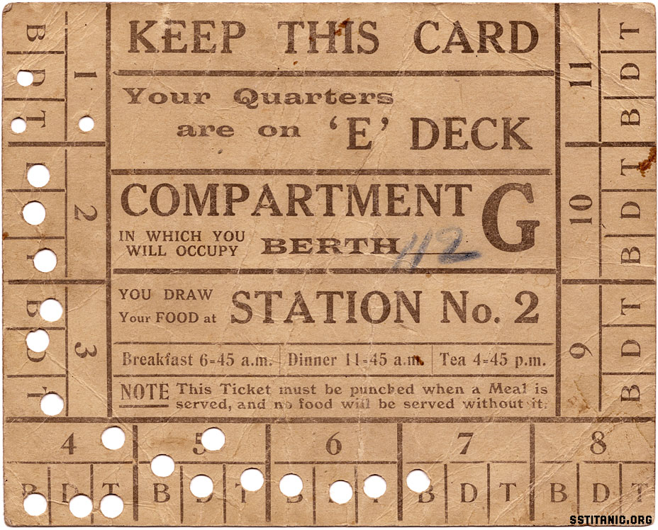 cabin meal mealcard keep this card titanic 1912