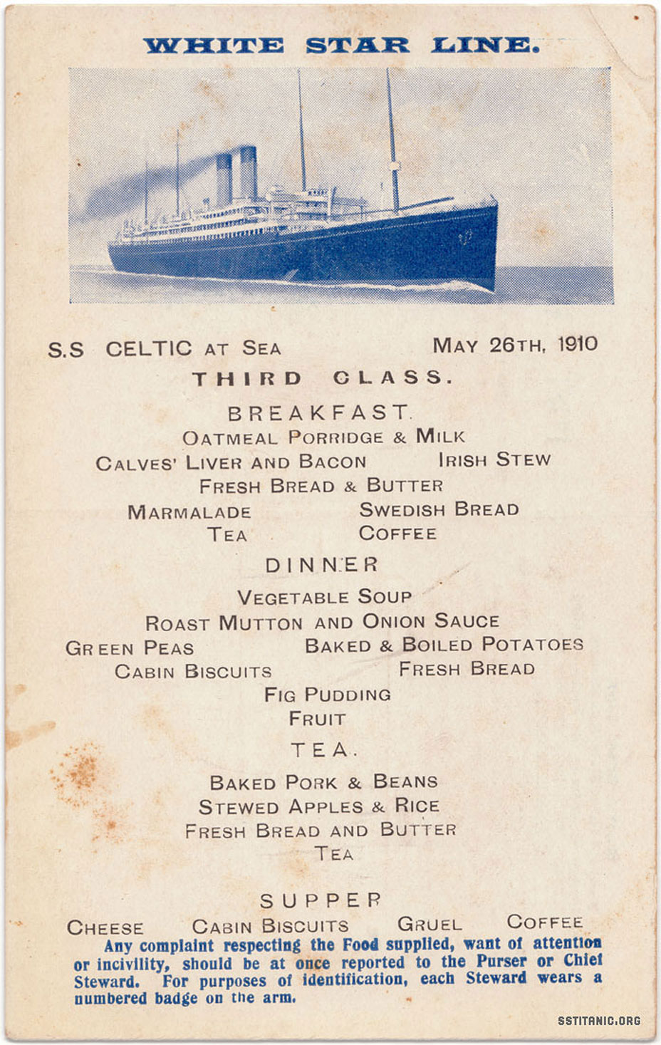 celtic third class menu card postcard titanic 1912