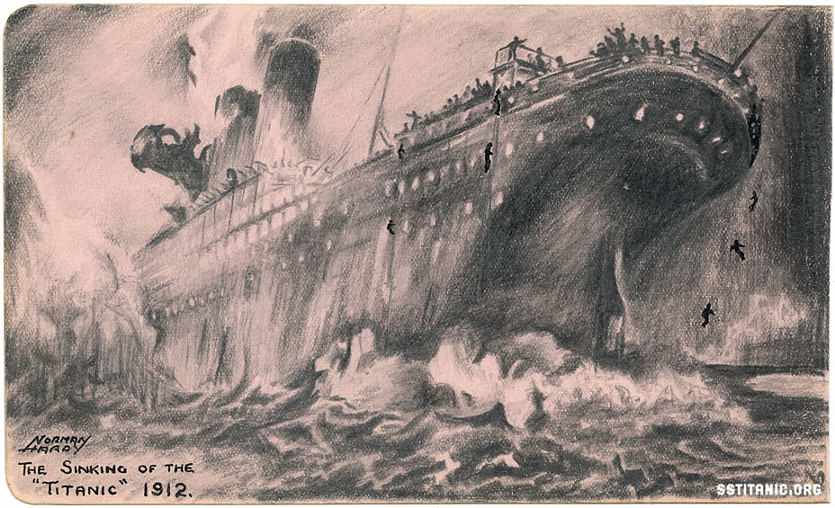 norman hardy art drawing sketch titanic 1912