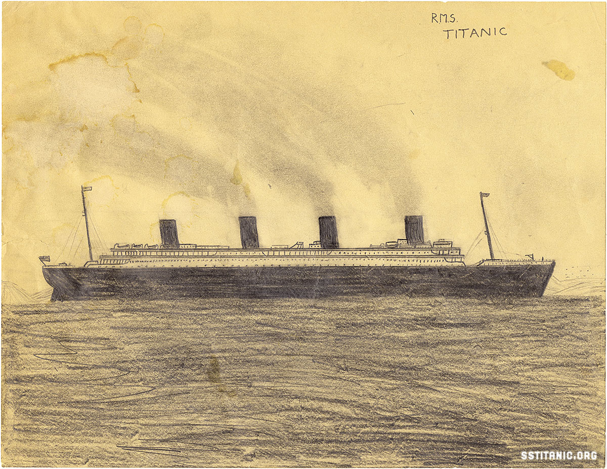pencil drawing by boy of 12 southampton titanic 1912