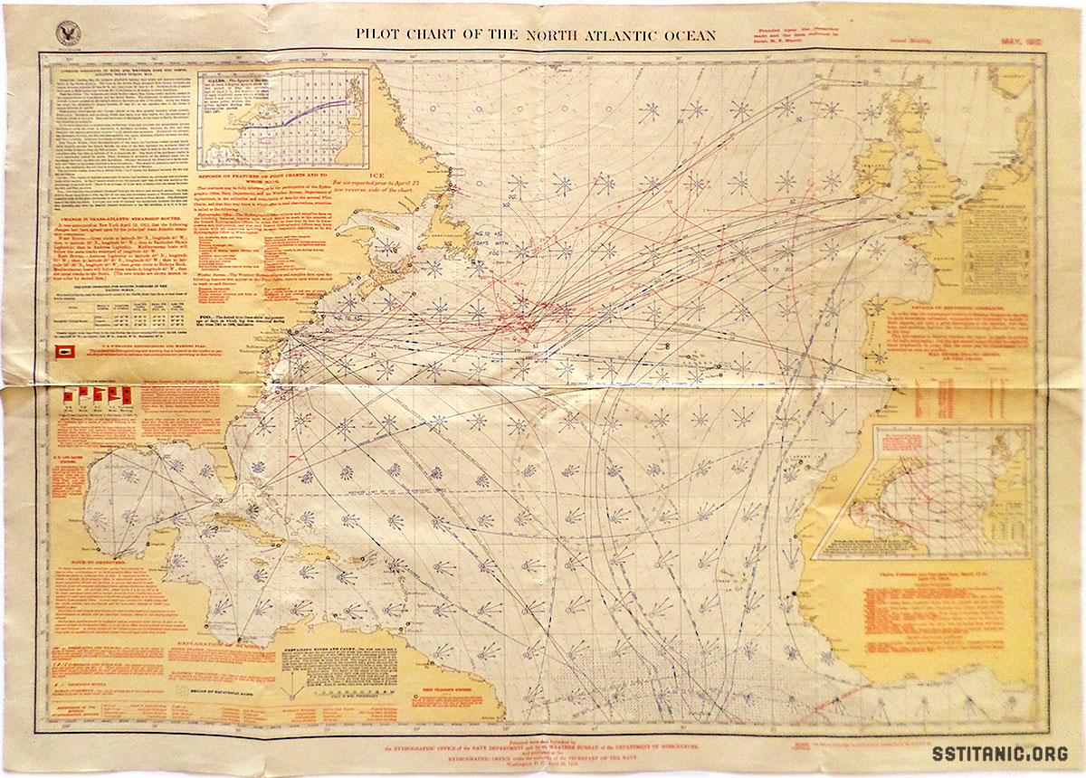 pilot chart north atlantic ocean may hydrographic office titanic 1912