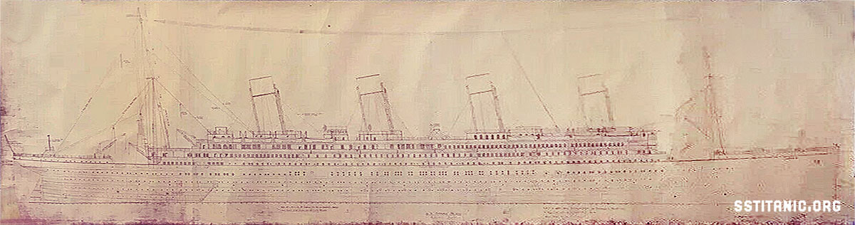 rigging plan 401 design drawing side profile elevation harland wolff titanic 1912