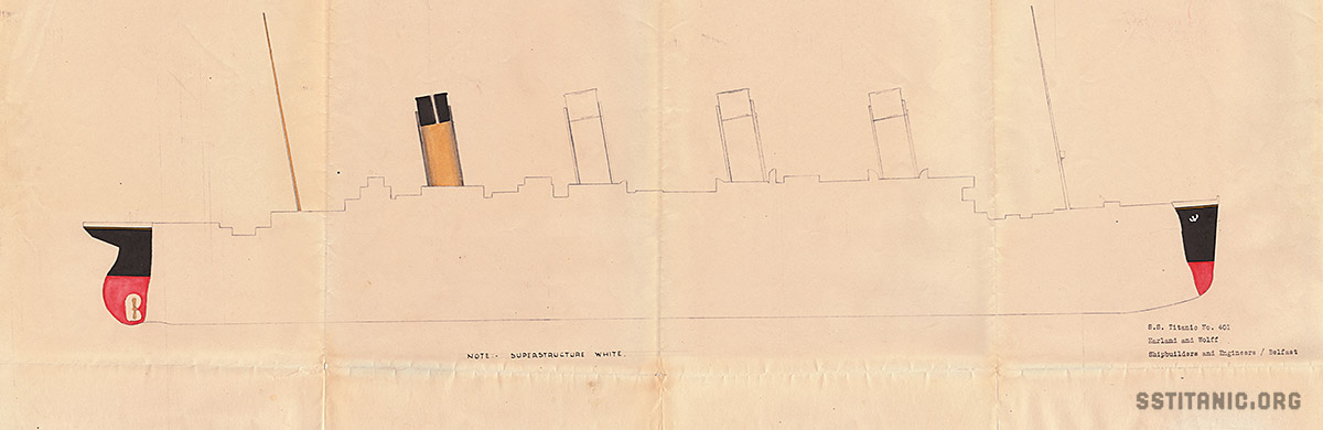 original longitudinal color design drawing drawings plan plans cross section blueprint titanic 1912